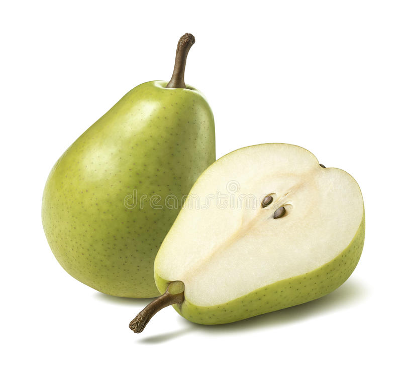 Free Green Pear Half Lies Flat Isolated On White Background Royalty Free Stock Photography - 84051197