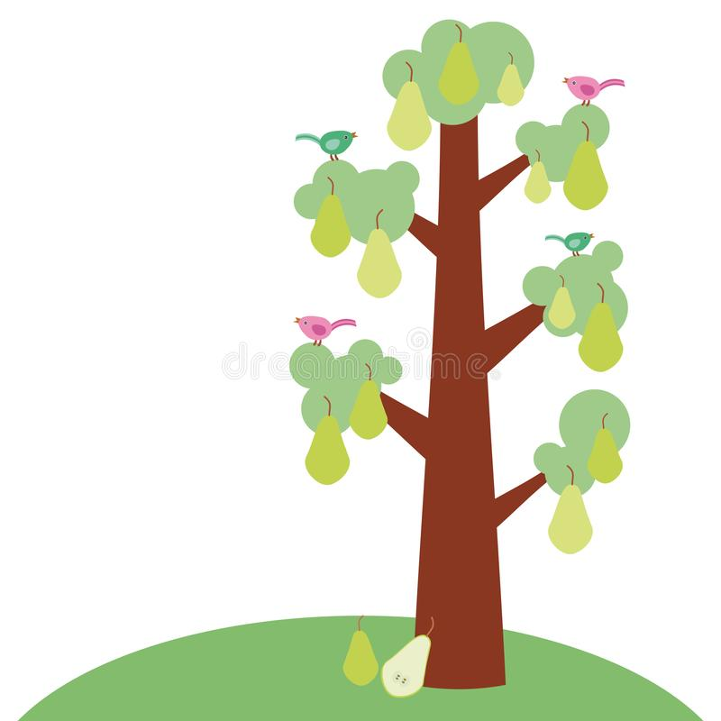 Green pear large tree with a thick trunk, green leaves and ripe fruits, poultry on branches. Green grass. Isolated on white backgr stock illustration