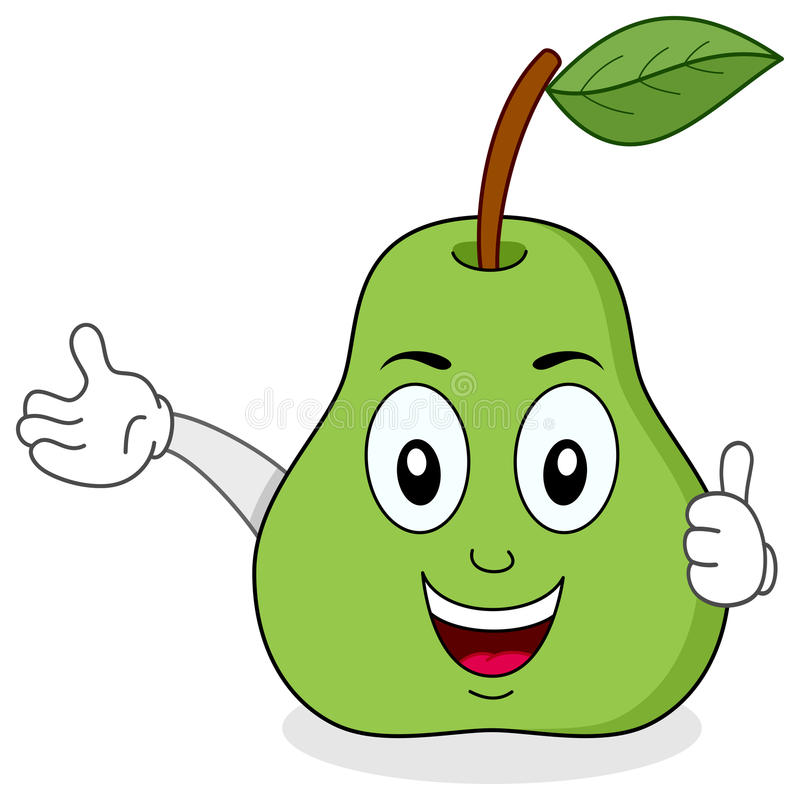 Green Pear Thumbs Up Character Stock Vector