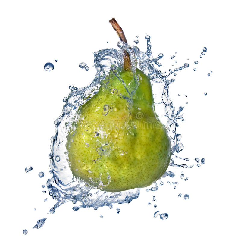 Green pear with water splash stock images