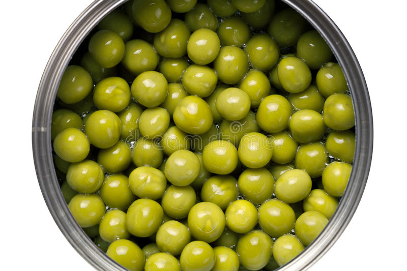 Green Peas. Canned green peas isolated on white background. Top view stock image