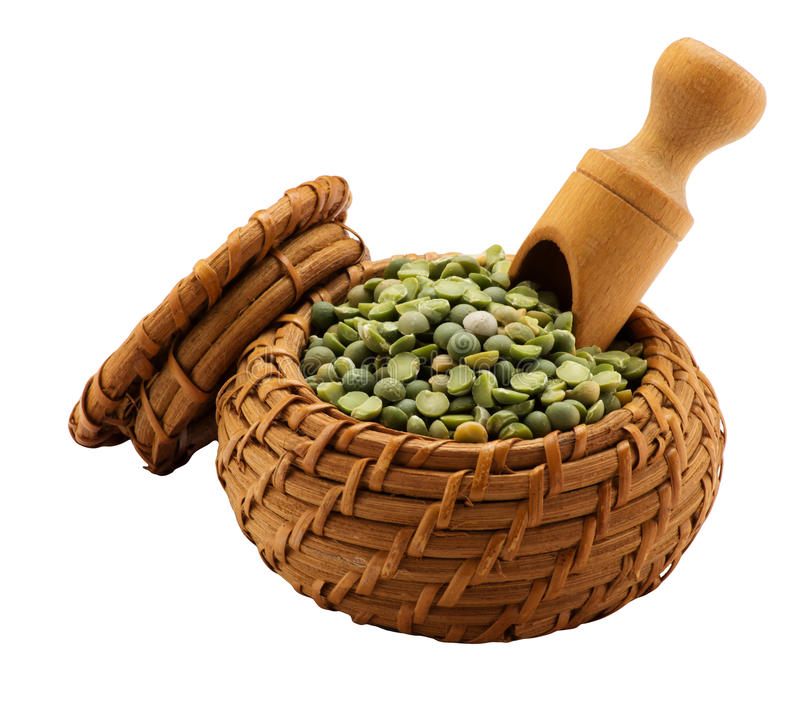 Green peas in a basket stock photo