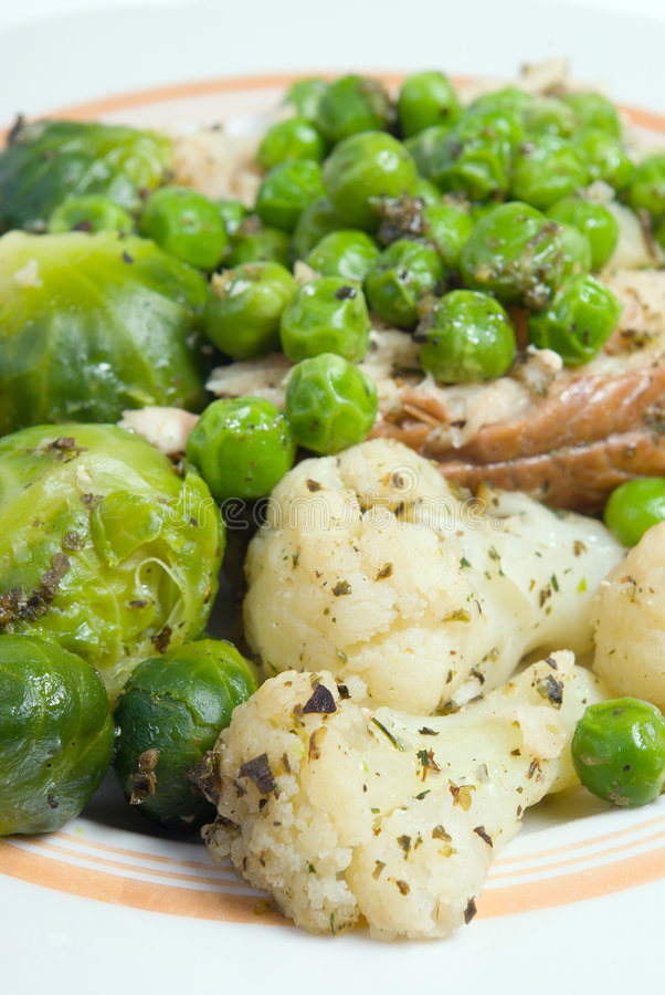 Green peas,brussels sprouts royalty free stock image