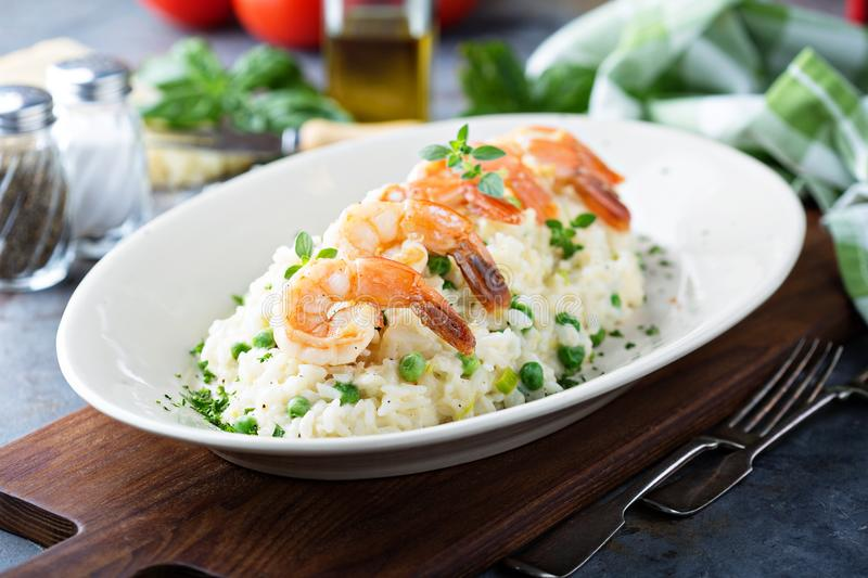 Green peas risotto with shrimp royalty free stock photos