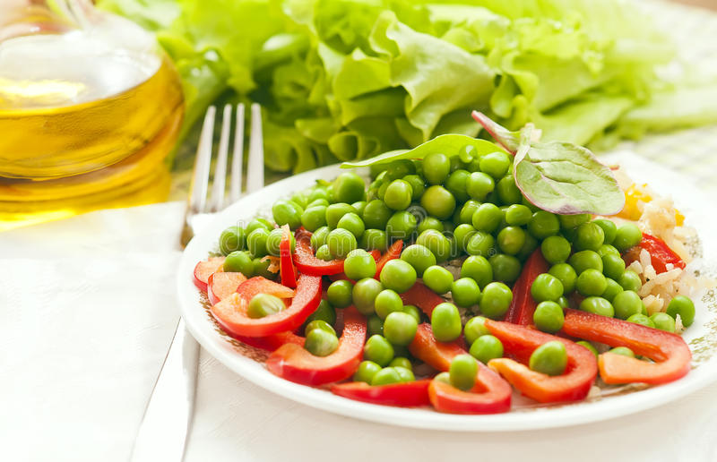 Green peas with pepper royalty free stock photography