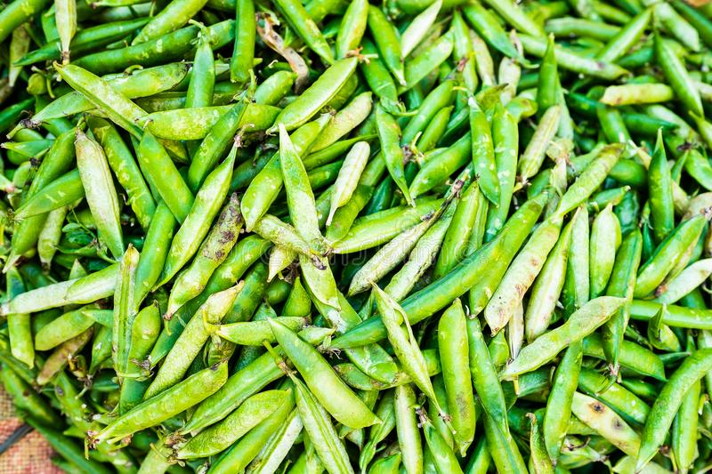 Green peas in pods on the street asian market in Kathmandu, Nepal. Vegetarian food. Mixed fresh raw vegetables, top view. Closeup. stock photos
