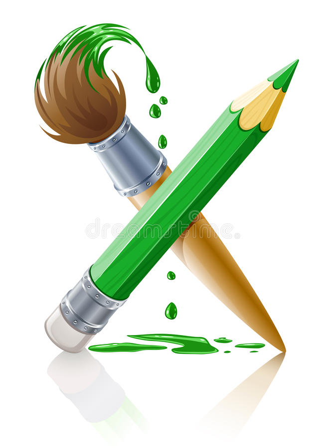 Green pencil and brush with paint royalty free stock image