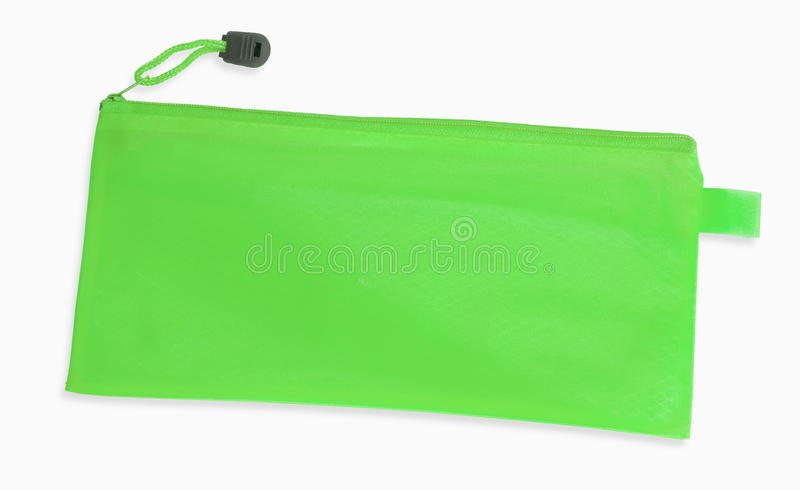 A green pencil case isolated on white background stock photography
