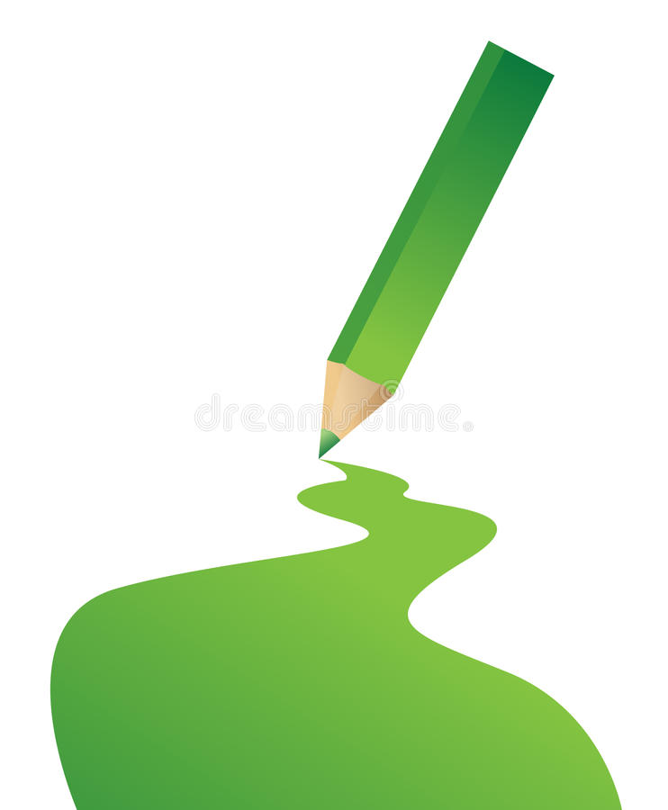 Green Pencil And Color Line Stock Photography