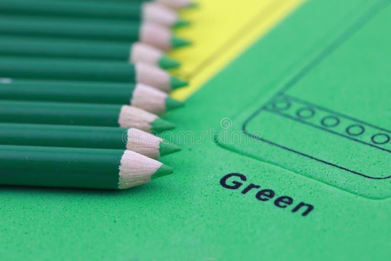 green pencil crayon stock image