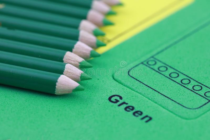 green pencil crayon stock photo