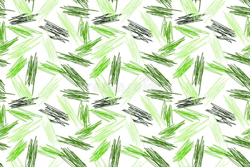 Green Pencil Strokes Seamless Pattern stock illustration