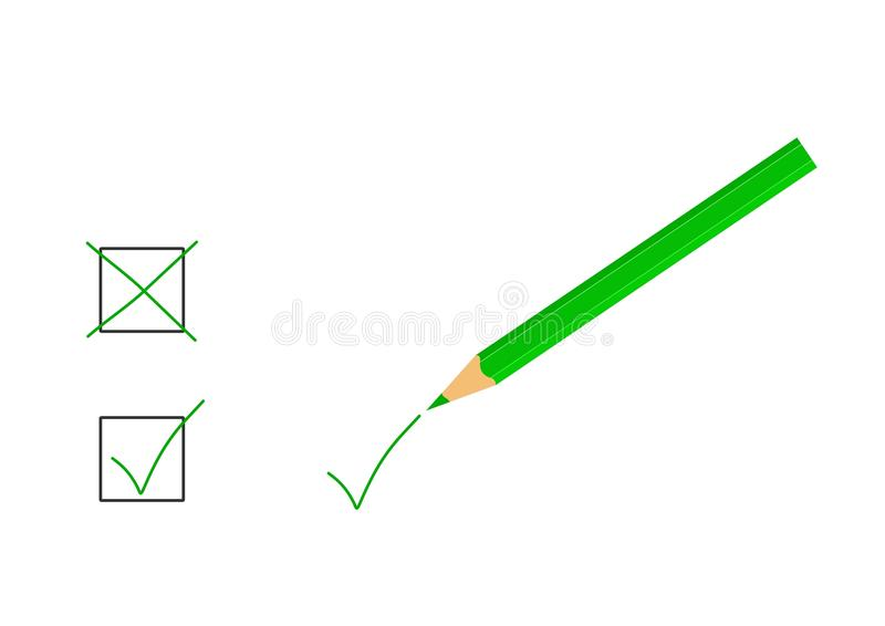 Green pencil - cdr format stock images