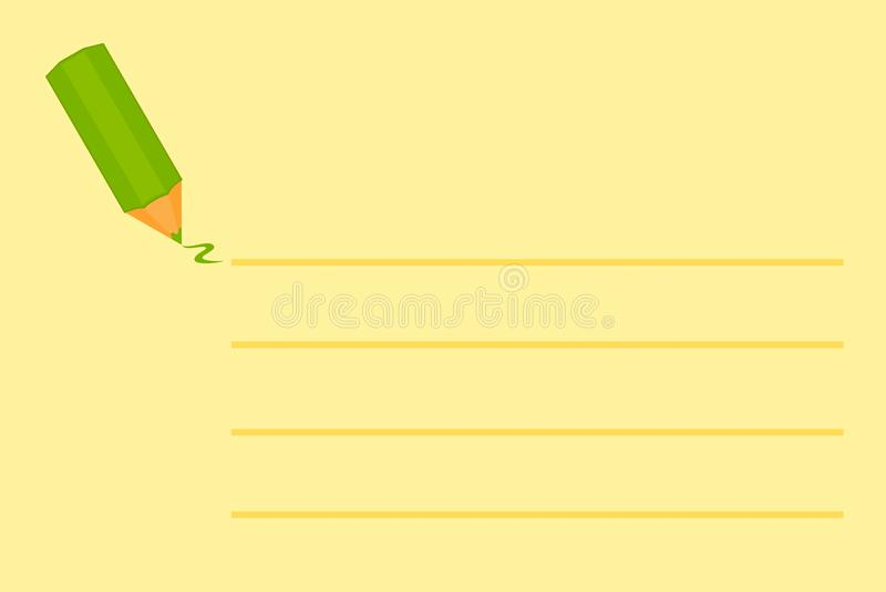 Green Pencil On Yellow Background With Lines Stock Images