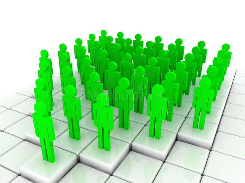 Green people. 3d illustration, the big group of green people was constructed in the form of an arrow stock illustration