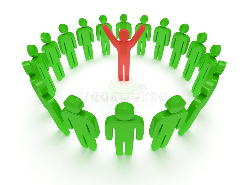 Download Green People Around Red Man. 3D Render. Stock Photography - Image: 34861342