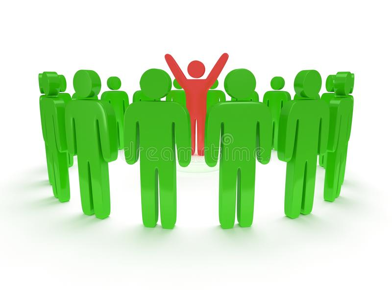 Green People Around Red Man. 3D Render. Royalty Free Stock Photography