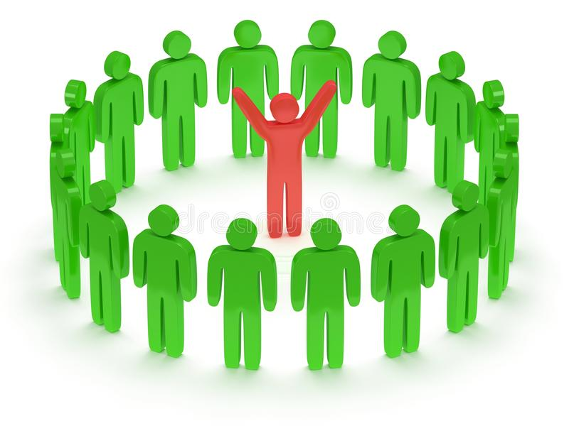 Download Green People Around Red Man. 3D Render. Stock Image - Image: 34861361