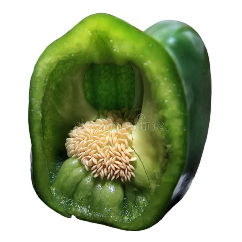 Green pepper cut isolated royalty free stock photo