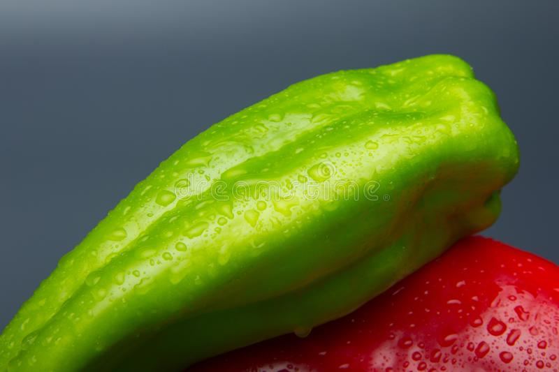 Fresh pepper, fresh from the garden. The green pepper, still needs to mature in the bush, but it is perfectly consumable and can be eaten. The red pepper, is royalty free stock image