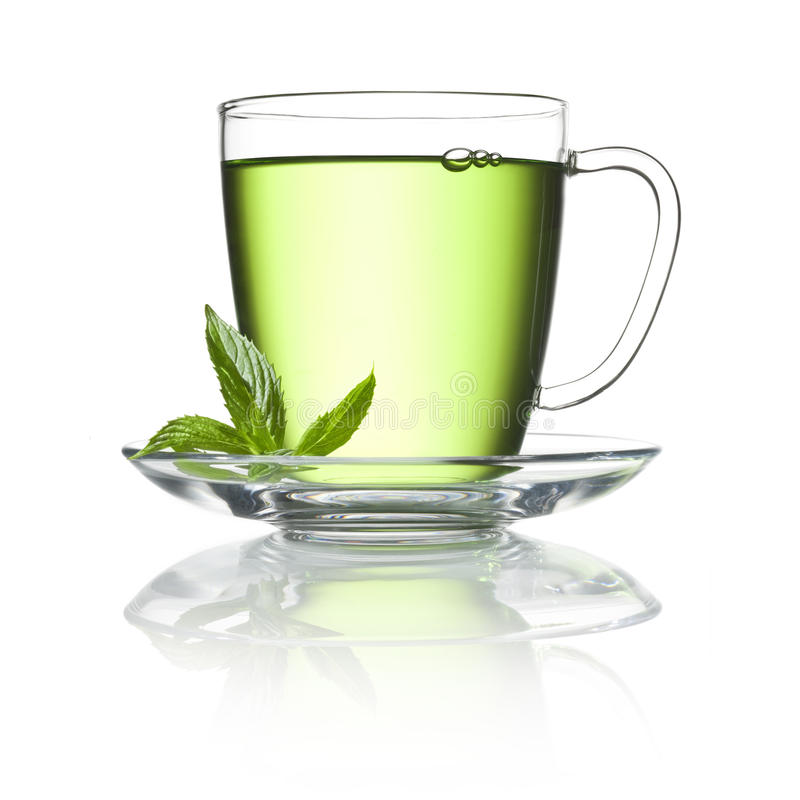 Green Peppermint Tea Cup stock photography