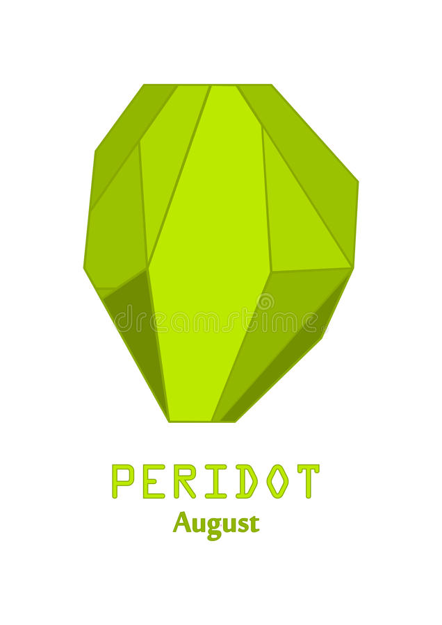 Green peridot gem stone, Apple green crystal, Gems and mineral crystal vector, August birthstone gemstone stock illustration