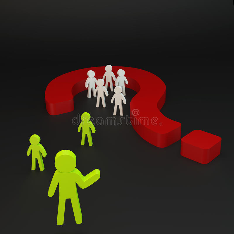 Green Person And Group Person In Red Question Mark Stock Illustration