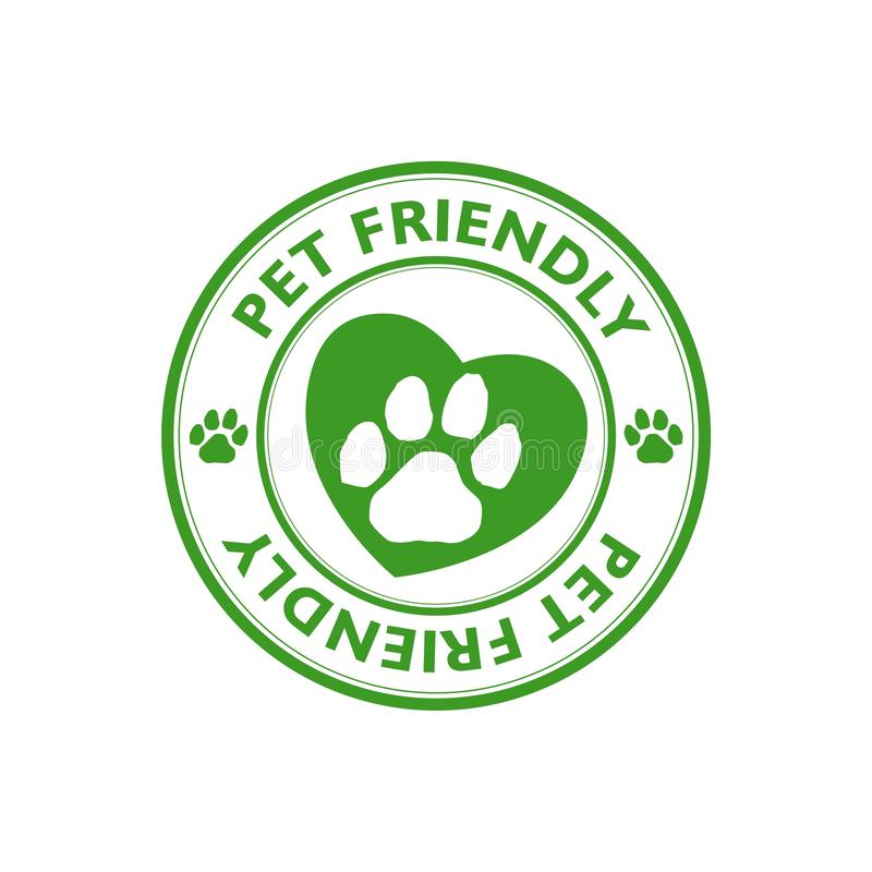 Green Pet friendly stamp, sign, icon. On white background royalty free illustration