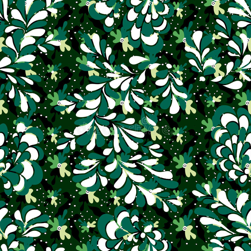 Green petals of trees colorful abstract seamless background vector illustration