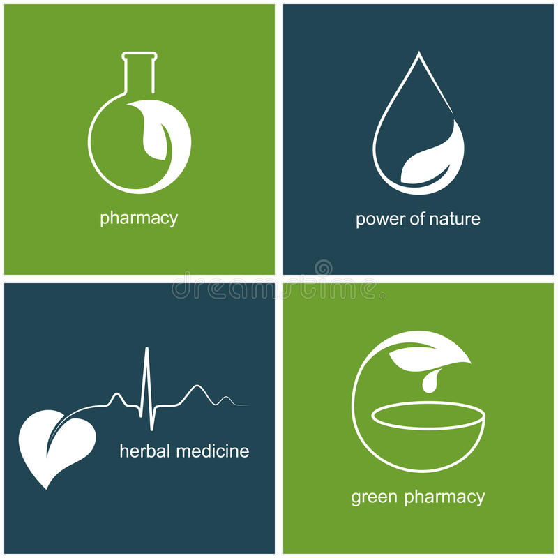 Green pharmacy and herbal medicine icons royalty free illustration