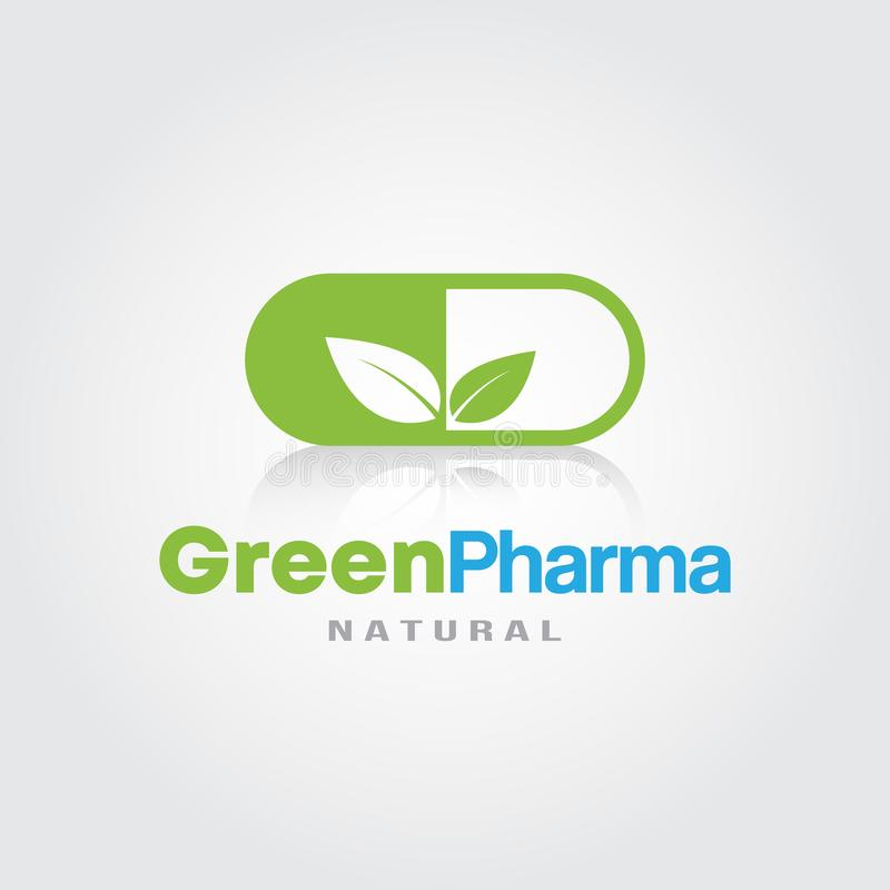 Green Pharmacy Logo template. Green Leaves Herbal Medicine icon for Natural Eco Green, Dispensary,Drugstore, Hospital and Clinic stock illustration