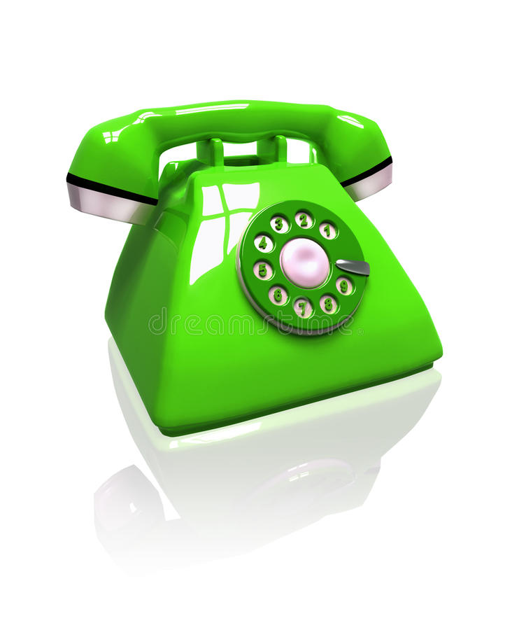 Green phone. 3d green phone on white background vector illustration