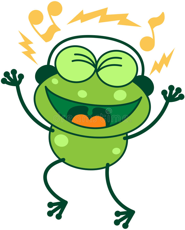 Green phone singing while listening to music vector illustration