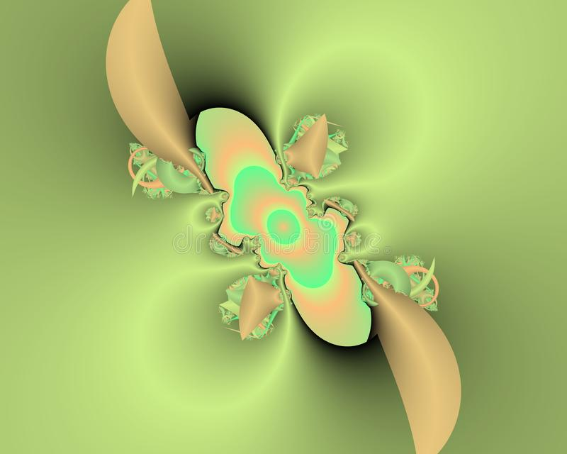 Green phosphorescent fractal abstract background, flowery texture. Beige green phosphorescent fractal background, flowery creative texture. Colors are placed at vector illustration