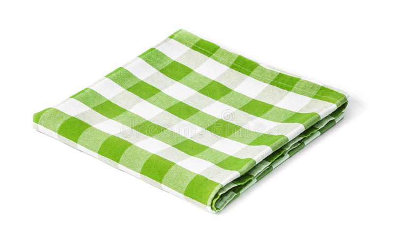 Green picnic tablecloth isolated. On white stock image