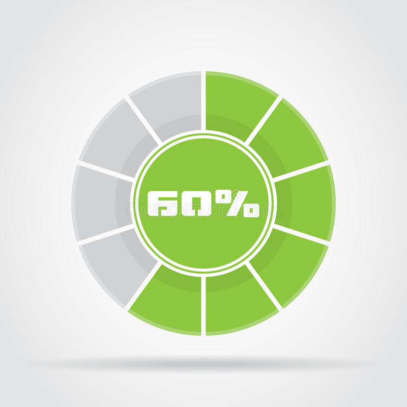 Green pie chart percentage diagram with shadow royalty free illustration