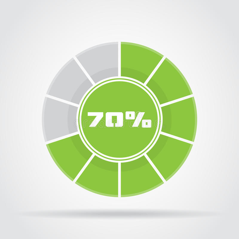 Green pie chart percentage diagram with shadow stock illustration