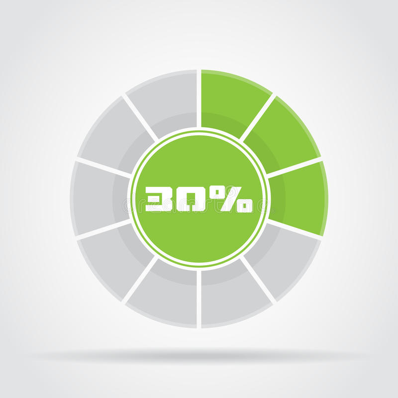 Green pie chart percentage diagram with shadow vector illustration