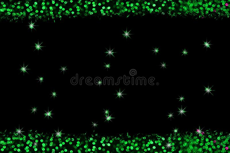 Green pieces color abstract of blur colorful light interior and black background stock images