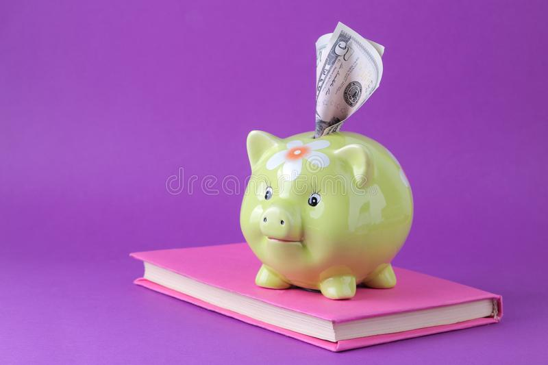 Green pig money box and money and book on a bright purple background. Finance, savings, money. space for text stock images