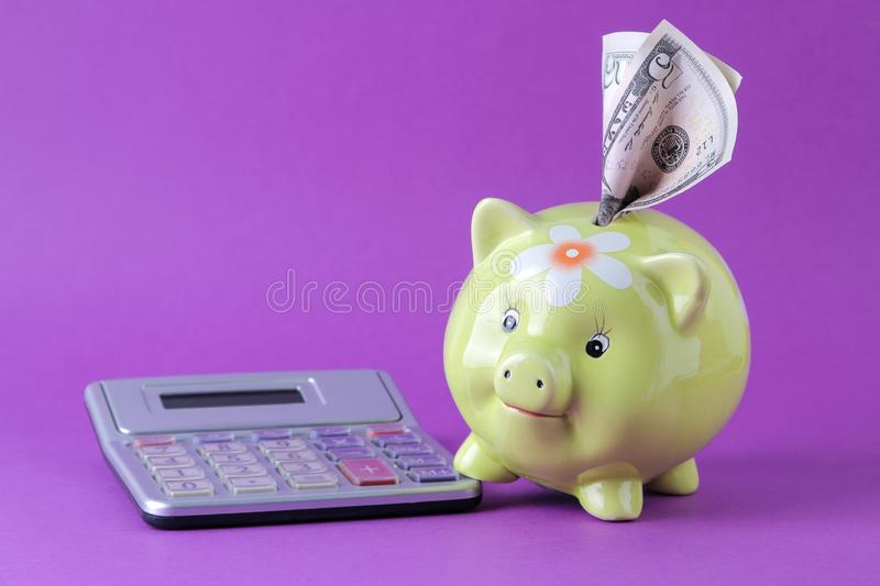 Green pig money box and money and calculator on a bright purple background. Finance, savings, money. space for text stock image