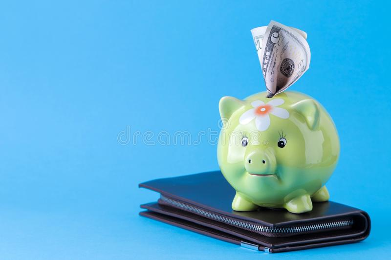 Green pig moneybox and money on bright blue background. Finance, savings, money. space for text royalty free stock image