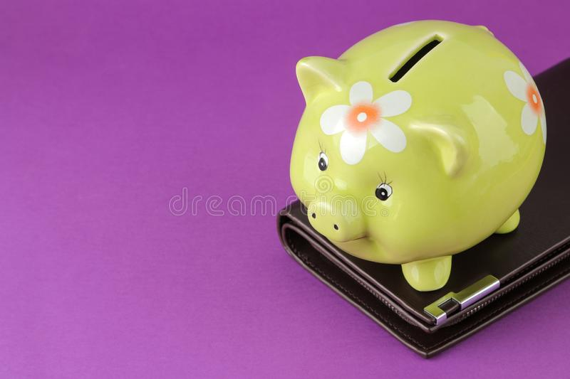 Green pig piggy bank and purse on a bright purple background. Finance, savings, money. place for text stock photos