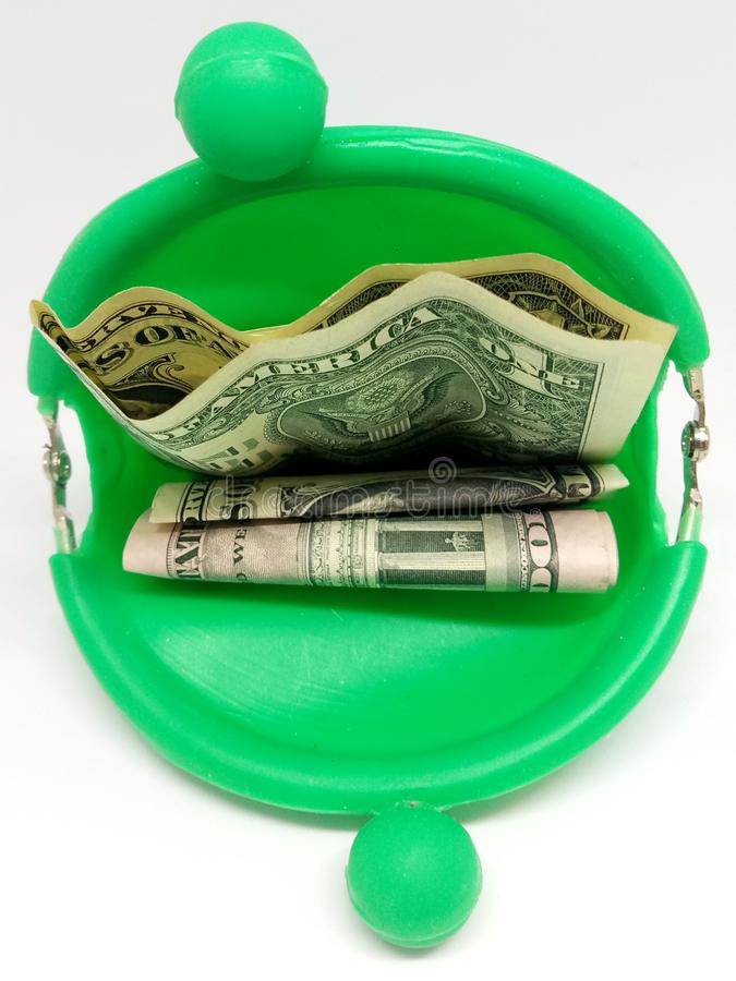 Green piggy Bank. Dollar waterproof royalty free stock images