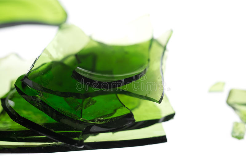 Green pile of glass royalty free stock image