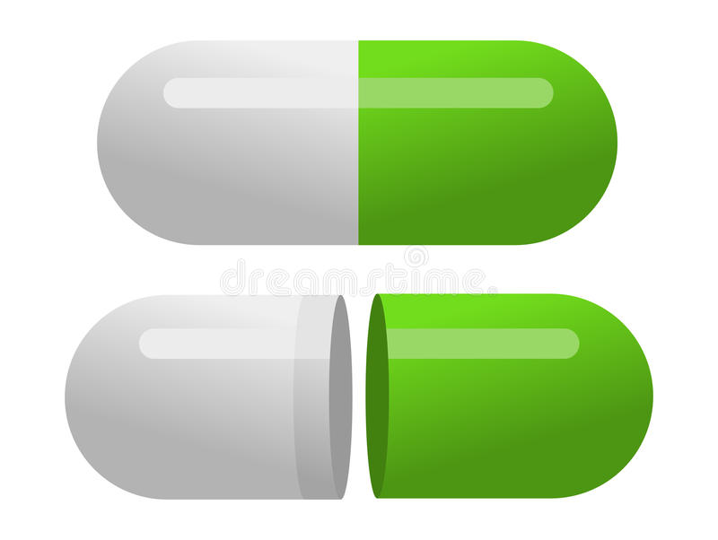 Green pills isolated on white background vector illustration