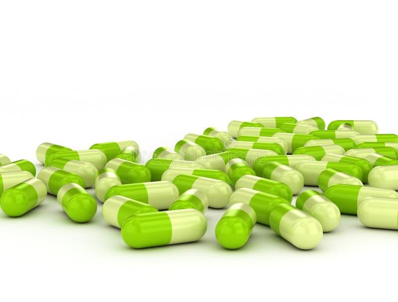 Green pills on white background vector illustration