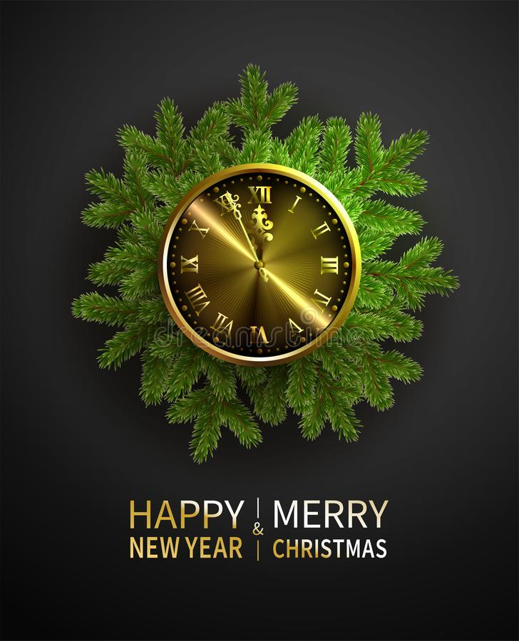 Green pine branches, blur decorative Christmas tree branch with golden clock. Vector illustration. Great for christmas stock illustration