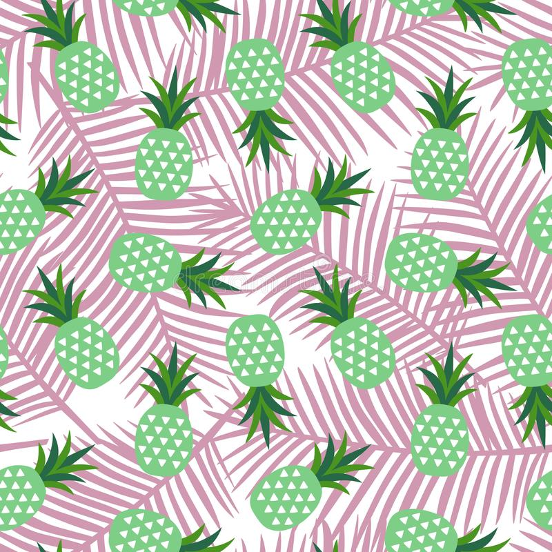 Green pineapple with triangles geometric fruit summer tropical exotic hawaii sweet pattern on a light pink palm leaves background. Seamless vector vector illustration