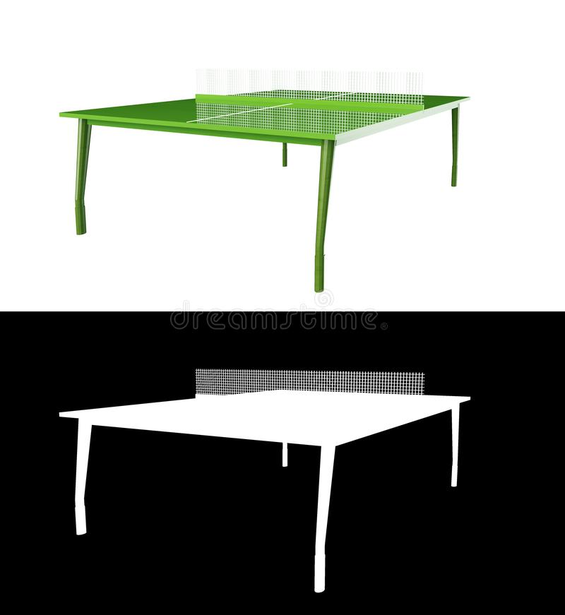 Green ping pong board or table with net isolated on a white background 3d rendering with alpha channel.  stock illustration